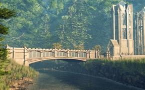 Картинка forest, river, castle, bridge of sighs