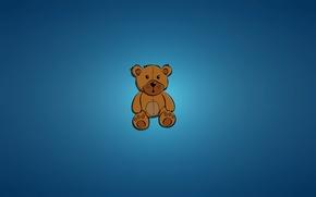 Картинка игрушка, минимализм, медведь, сидит, bear, синий фон