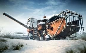 Картинка зима, снег, комбайн, СК-5 Нива, Ростсельмаш
