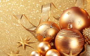 Картинка шарики, золото, праздник, игрушки, блеск, новый год, блестки, декорации, happy new year, christmas decoration, новогодние …