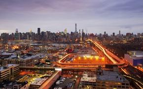 Картинка свет, Нью-Йорк, горизонт, улицы, Эмпайр-стейт-билдинг, Соединенные Штаты, Крайслер Билдинг, Лонг-Айленд, Река Гудзон, Мост Куинсборо