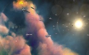 Картинка космос, корабли, флот