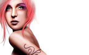 Картинка девушка, лицо, рендеринг, волосы, спина, белый фон, плечо, зеленые глаза