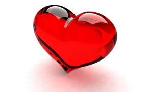 Картинка стекло, красное, сердце, прозрачное