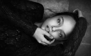 Картинка портрет, девочка, черно-белое