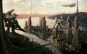 Обои космические корабли, будущее, sci-fi, пейзаж, фантастика, роботы, город