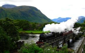 Картинка горы, река, поезд, Hogwarts Express