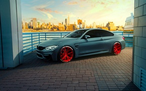 Картинка Car, Coupe, City, F82, Vossen, VPS-306, Sunset, Front, Wheels, BMW