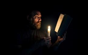 Картинка человек, свеча, книга