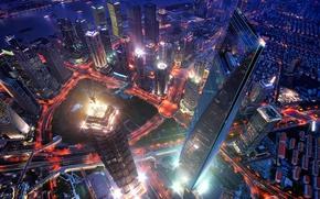 Картинка город, вечер, Китай, вид сверху