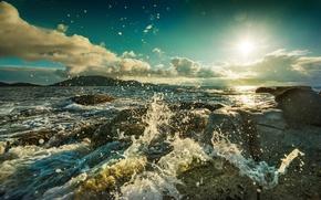 Картинка облака, брызги, камни, океан