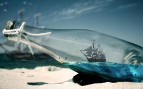 Обои песок, море, кораблик, в бутылке