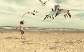 Картинка волны, пляж, чайки, ребенок, waves, beach, child, seagulls