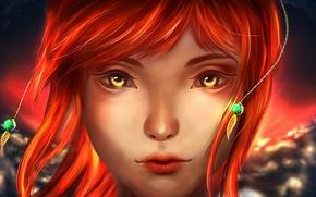 Картинка девушка, фэнтези, золотые глаза