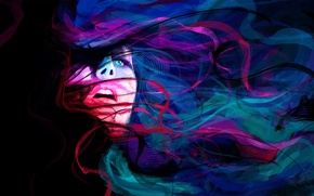 Обои глаза, девушка, линии, абстракция, лицо
