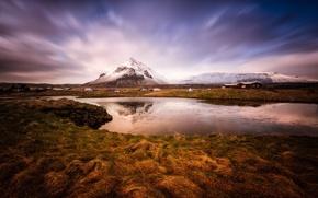 Картинка природа, снег, река, горы, зима