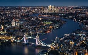 Обои night, Tower Bridge, London, England, Thames River, cityscape, urban scene