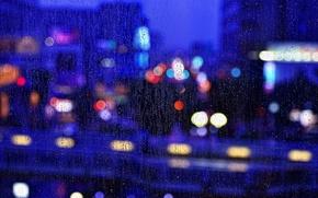 Картинка Макро, Ночь, Город, Дождь, Окно