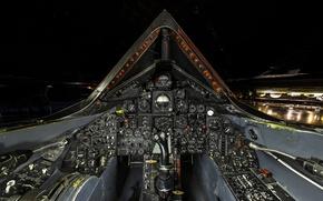 Картинка Lockheed, inside, buttons, joystick, cockpit, dashboard, black project, SR-71 Blackbird, United States Aircraft, reconnaissance