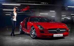 Картинка Mercedes-Benz, Girl, Red, AMG, SLS, Beauty, Supercar, Door, Elmira Abdrazakova