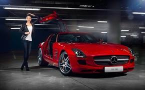 Обои mercedes-benz, sls, amg, red, supercar, door, girl, beauty