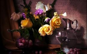 Обои натюрморт, розы, пионы, виноград, ваза