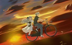 Обои небо, девушка, облака, закат, велосипед, аниме, арт, парень, kasugano sora, yosuga no sora, kasugano haruka, ...