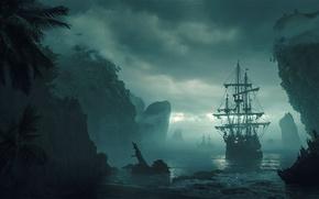 Картинка море, небо, вода, облака, туман, берег, корабль, остров, арт