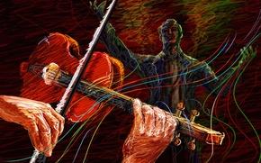 Картинка штрих, вектор, звуки, скрипач, дирижер, скрипка, концерт