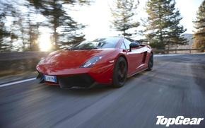 Картинка дорога, солнце, деревья, красный, Lamborghini, суперкар, Gallardo, supercar, top gear, передок, самая лучшая телепередача, высшая …