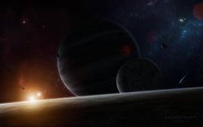 Картинка звезды, планеты, свечение, спутники, star sistem