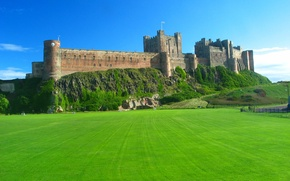 Картинка поле, Англия, крест, Замок, зеленое