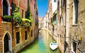 Картинка мост, лодка, дома, канал, венеция