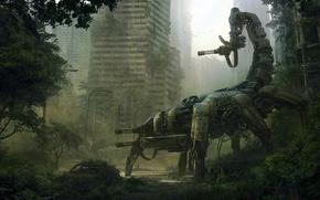 Картинка машина, город, оружие, робот, арт, скорпион, руины, andreewallin