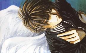 Картинка крылья, руки, галстук, парень, пиджак, грустный ангел, Angel sanctuary, Kaori Yuki, Обитель ангела, Setsuna Mudo