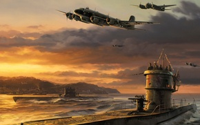 Картинка war, art, airplanes, painting, drawing, ww2, junker ju 88, germans bomber, german u-boat