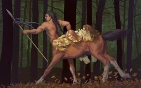 Картинка лес, девушки, кентавр, копьё, добыча