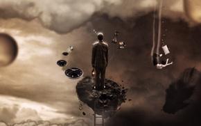 Картинка фантастика, камень, часы, человек, сон, лестница, фонарь, fantasy, подсознание
