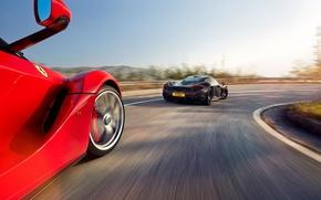 Картинка McLaren, Ferrari, Red, Sky, Power, Speed, Black, Sun, Supercars, Road, LaFerrari, Rear, Lead, Moutian