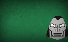 Картинка зеленый, минимализм, злодей, dr doom, доктор дум
