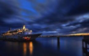 Картинка закат, тучи, огни, корабль, сумерки, гавань