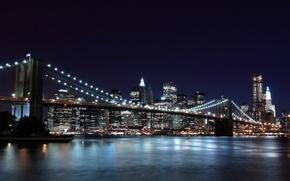 Обои ночь, город, огни, нью-йорк, new york, бруклинский мост, brooklyn bridge