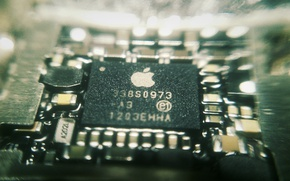 Картинка макро, apple, processor