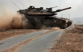 Картинка танк, Израиль, на дороге, Merkava Mk.4