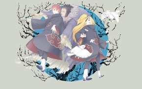 Обои марионетка, Deidara, красные облака, глина, Sasori, наруто, Naruto, птицы, ниндзя, плащи, сасори, дейдара