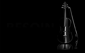 Обои минимализм, музыкальный инструмент, чёрный, фон, скрипка, темнота