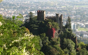 Обои башни, Италия, деревья, панорама, город, замок, Tyrol, вид, Trentino-Alto Adige, скалы