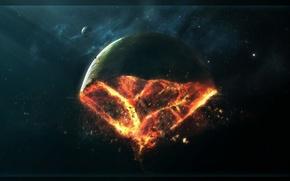 Обои осколки, катастрофа, Планета