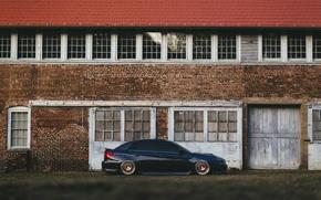 Обои здание, сторона, WRX, колеса, ангар, Subaru