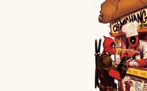 Картинка красный, повар, Deadpool, Дэдпул, катаны, comics, MARVEL, Уэйд Уилсон, чимичанга, chimichanga